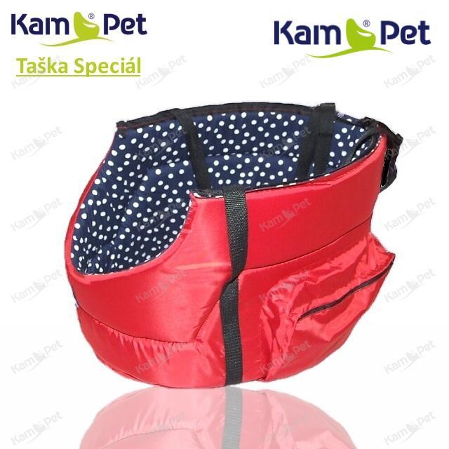 Taška na psa vel. 30 KamPet Speciál ČERVENÝ šusťák /uvnitř dezén do černa