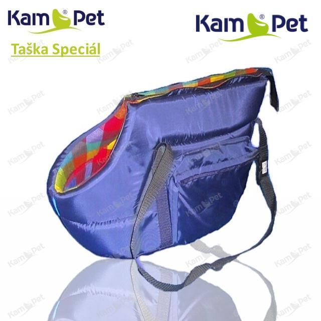 Taška na psa vel. 40 KamPet Speciál MODRÝ šusťák /uvnitř dezén do černa