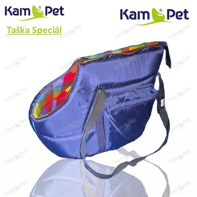 Taška na psa vel. 50 KamPet Speciál MODRÝ šusťák /uvnitř dezén do černa