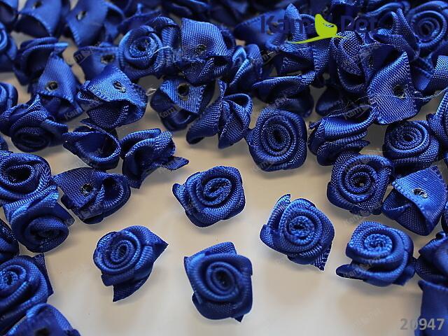 Aplikace saténová růžička modrá bal. 10ks