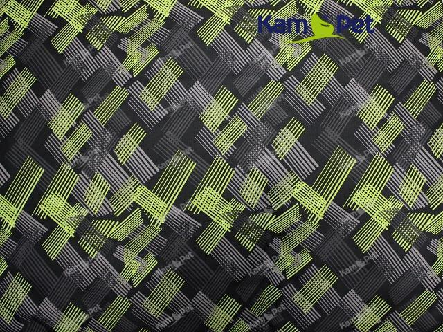 Tkanina RINS ČERNÝ cool mřížky limetkové, á 1m