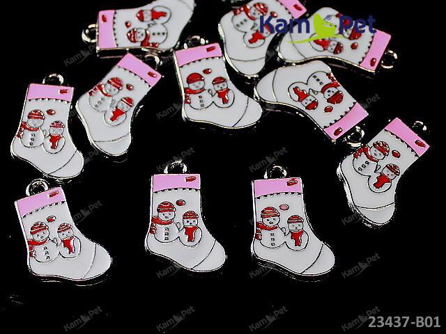 Kovový přívěšek vánoční bota BÍLÁ, á 1ks