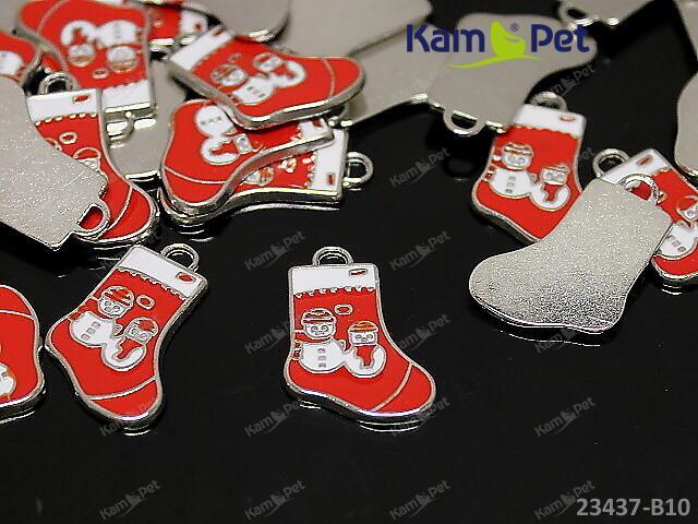 Kovový přívěšek vánoční bota ČERVENÁ, á 1ks
