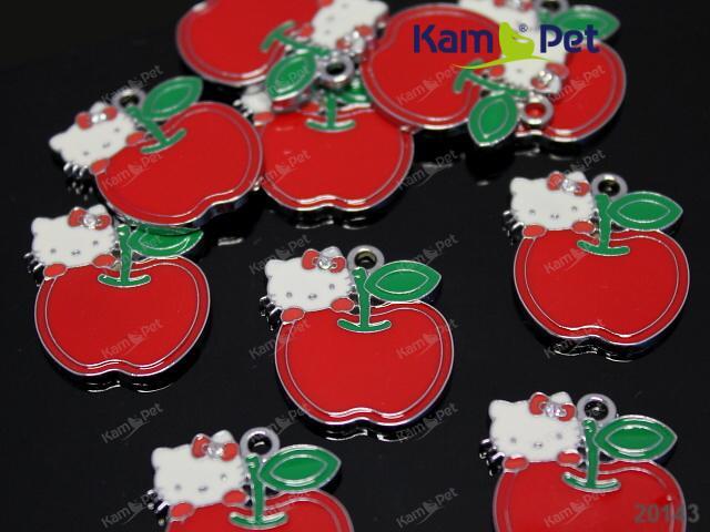 Kovový přívěšek Hello Kitty / červené jablko, á 1ks