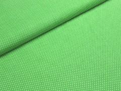 Látka bavlna limetková zelená / 01 bílý puntík, á 1m