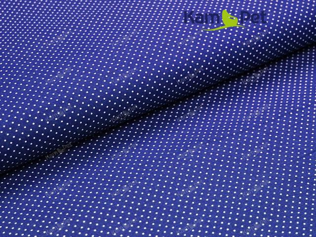 Látka bavlna nivea modrá / 01 bílý puntík, á 1m
