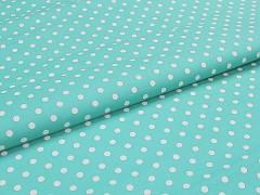 Látka bavlna zelená mintová / 06 bílý puntík, á 1m