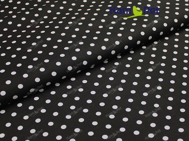 Látka bavlna černá / 06 bílý puntík, á 1m