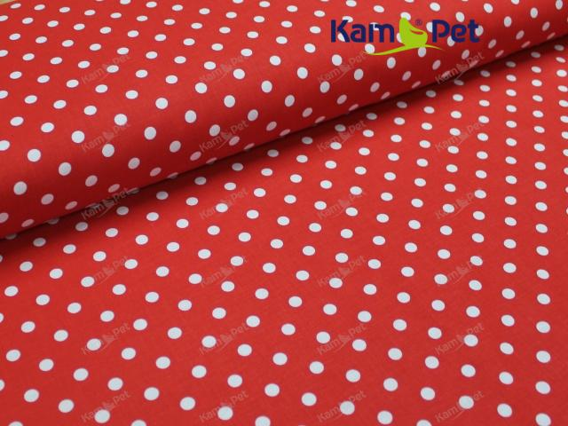 Látka bavlna červená / 06 bílý puntík, á 1m