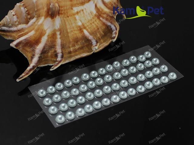 Samolepící perly 5mm STŘÍBRNÉ, bal. 1karta