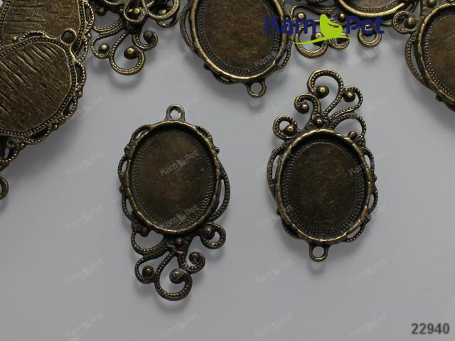Přívěšek / bižuterní lůžko bronzové zdobené, á 1ks