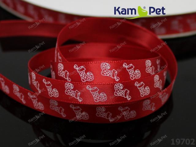 Vánoční stuha červená / boty 10mm, bal. 3m