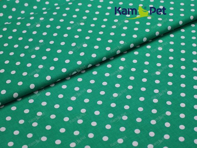 Látka bavlna zelená / 06 bílý puntík, á 1m