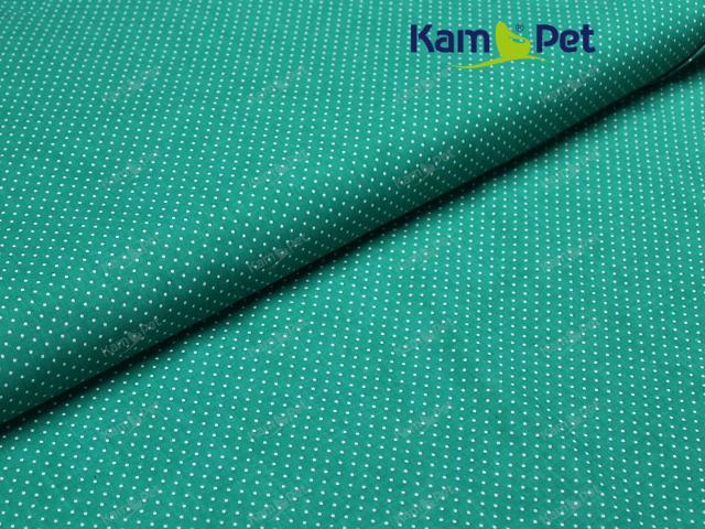 Látka bavlna zelená/ bílý 01 puntík, á 1m