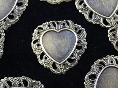 Bižuterní lůžko ozdobné srdce 35/34 BRONZ