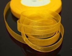 Žlutá tmavě stuha organzová 6mm organza stužka šifónová tmavě žlutá, á 1m