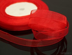 Červená stuha organzová 6mm organza stužka šifónová červená, á 1m