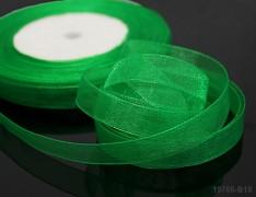 Zelená stuha organzová 6mm organza stužka šifónová zelená tráva, á 1m