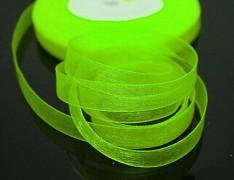 Zelená neon stuha organzová 6mm organza stužka šifónová neonová zelená, á 1m