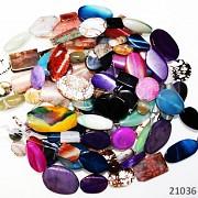 ACHÁT kameny šperkové 9-15ks na šňůře přírodní minerál MIX