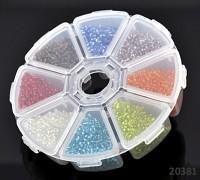 Pestrobarevný mix skleněný rokajl 2mm ČIRÝ MIX v boxu