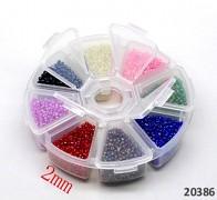 Pestrobarevný mix skleněný rokajl 2mm AB MIX v boxu