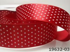Stuha s puntíky šíře 38mm červená/bílé puntíky