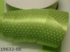 Stuha s puntíky šíře 38mm zelená limetka/bílé puntíky