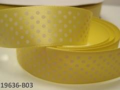 Stuha s puntíky šíře 22mm ŽLUTÁ/bílé, svazek 2m
