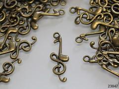 Bronzový přívěsek houslový klíč, bal. 2ks