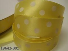 Stuha s puntíky 22mm ŽLUTÁ/bílé, svazek 2m