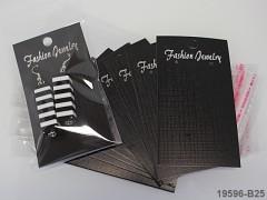 Bižuterní karta+sáček na náušnice ČERNÁ 90/50, bal. 25ks