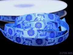 Saténová stuha 10mm květiny modrá, bal. 3m