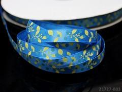 Saténová stuha 10mm květy modrá, bal. 3m
