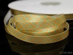 Saténová stuha 10mm káro žlutá, bal. 3m
