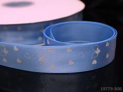Saténová stuha srdíčka 22mm modrá, bal. 2m