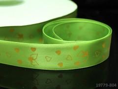 Saténová stuha srdíčka 22mm sv.zelená, bal. 2m