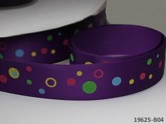 Saténová stuha puntíky 22mm fialová, bal. 2m