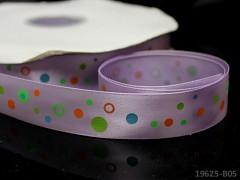 Saténová stuha puntíky 22mm sv.fialová, bal. 2m
