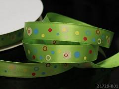 Saténová stuha puntíky 16mm zelená, bal. 2m