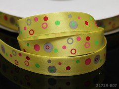 Saténová stuha puntíky 16mm žlutá,  bal. 2m
