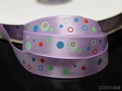 Saténová stuha puntíky 16mm fialová,  bal. 2m