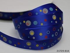 Saténová stuha puntíky 16mm modrá, bal. 2m