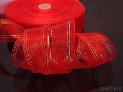 Červená stuha organzová 25mm MĚNIVÁ organza stužka šifónová AB červená,  á 1m