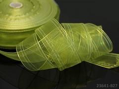Zelená khaki stuha organzová 25mm MĚNIVÁ organza stužka šifónová AB zelená khaki,  á 1m