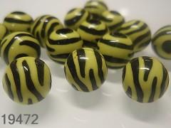 Korálky zebry žlutočerné kuličky Ø 11mm, bal. 10ks