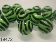 Korálky zebry zelenočerné kuličky Ø 11mm, bal. 10ks