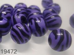 Korálky zebry modročerné kuličky Ø 11mm, bal. 10ks