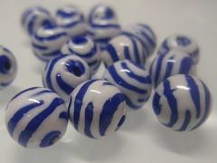 BÍLO / MODRÉ korálky zebry kuličky  11mm, bal. 10ks