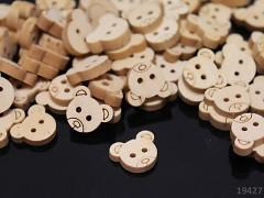 Knoflík dřevěný medvídek, 1ks